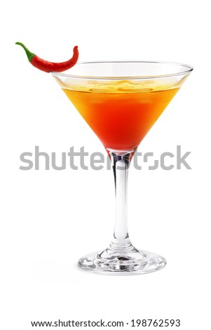 cocktail with chili pepper decoration on white background - stock photo