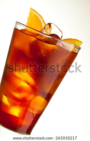 Cocktail with Energy Drink, Cola and Slice of Orange - stock photo