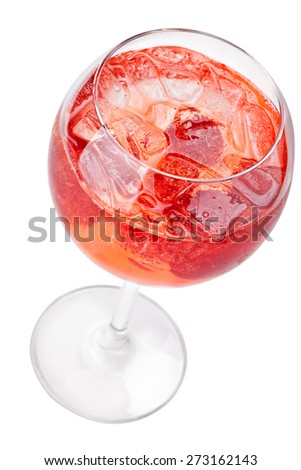 Cocktail with ice cube and strawberries. Top view. Isolated on white background. - stock photo