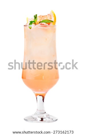 Cocktail with ice garnished slice of grapefruit  and mint leaf. Isolated on white background. - stock photo