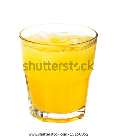 cocktail with ice isolated on white background - stock photo