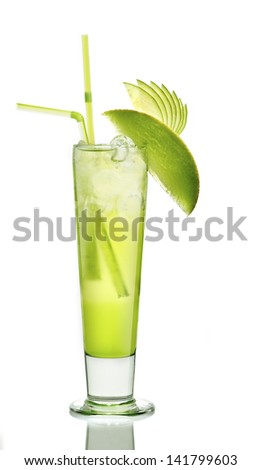 cocktail with ice melon and apple in a long drink glass - stock photo