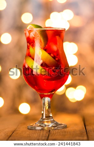 Cocktail with lime and pomegranate  - stock photo