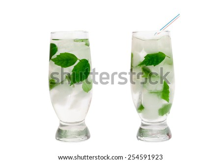 cocktail with mint and ice - stock photo