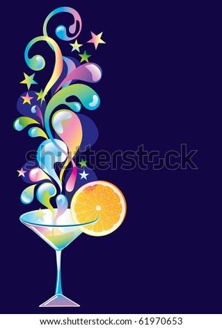 Cocktail with orange and splash - stock photo