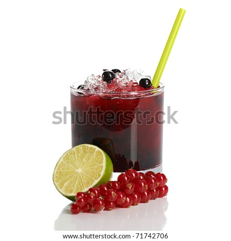 Cocktail with red and black currant, and ice on white - stock photo