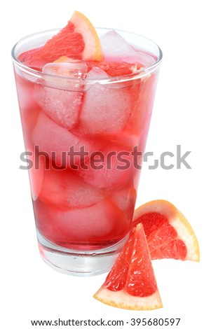 Cocktail with slices of grapefruit and grapefruit juice on a white background. - stock photo