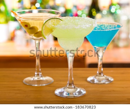 cocktails in a bar - stock photo
