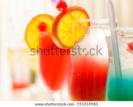 cocktails in the bar - stock photo