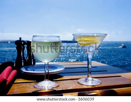 Cocktails on the Water - stock photo