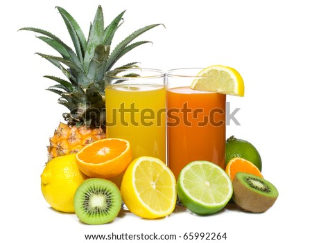 cocktails with fruits on white background - stock photo