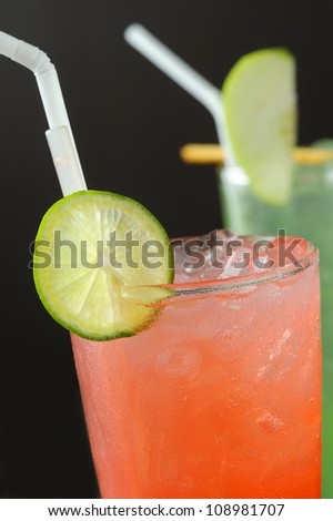 cocktails with ice and lime - stock photo