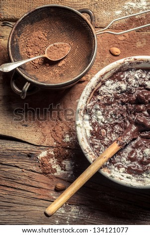 Cocoa as a component of homemade chocolate - stock photo