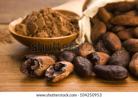 Cocoa (cacao) beans on natural wooden table - stock photo