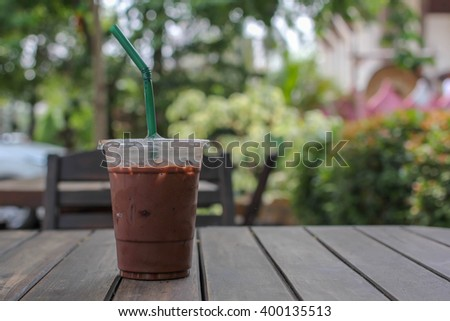 Cocoa cool on a wooden table - stock photo