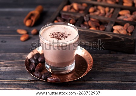 cocoa drink and cocoa beans - stock photo
