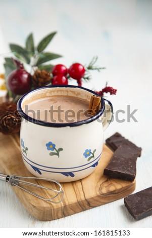 Cocoa drink with cinnamon - stock photo