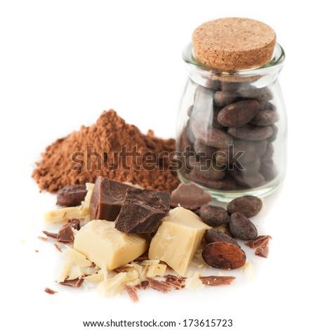 Cocoa oil (butter), cocoa powder, cocoa beans and chocolate - stock photo
