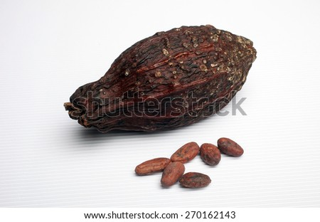 Cocoa pods and beans - stock photo