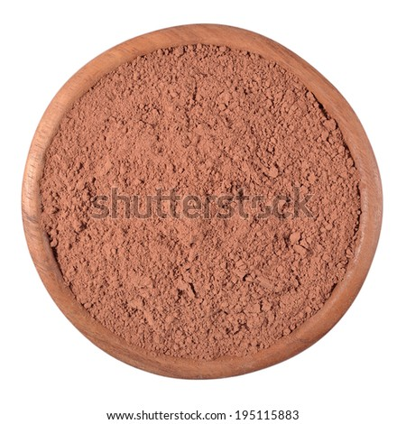 Cocoa powder in a wooden bowl on a white background - stock photo