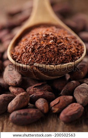 cocoa powder in spoon on roasted cocoa chocolate beans background - stock photo