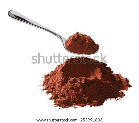 cocoa powder with spoon - stock photo