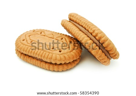 cocoa sandwich biscuits - stock photo