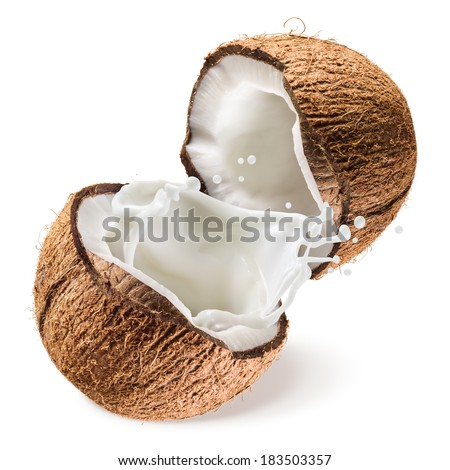 Coconut and a half with milk splash on white background - stock photo