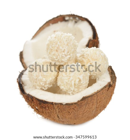 Coconut and coconut candies on a white background - stock photo