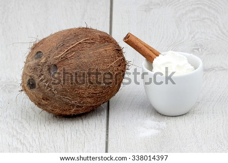 Coconut and whipped cream - stock photo