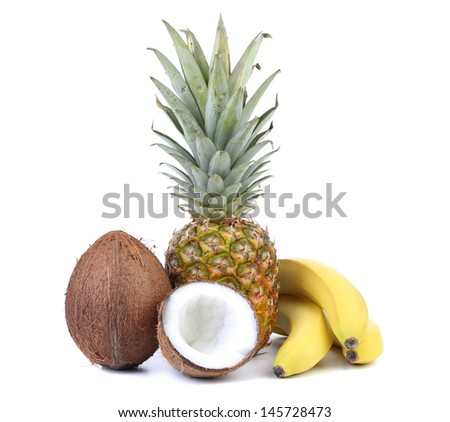Coconut, banana and pineapple isolated on white - stock photo
