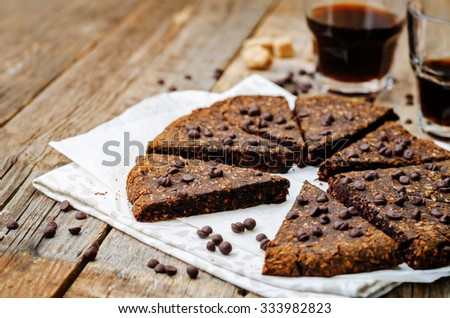 Coconut banana chocolate chips chocolate scones. toning. selective focus - stock photo