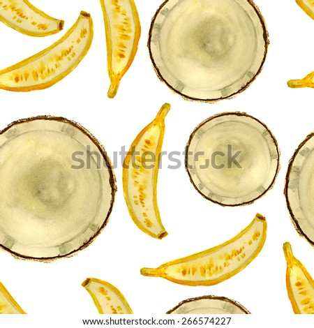 coconut-banana square for seamless pattern, hand-painted watercolor - stock photo