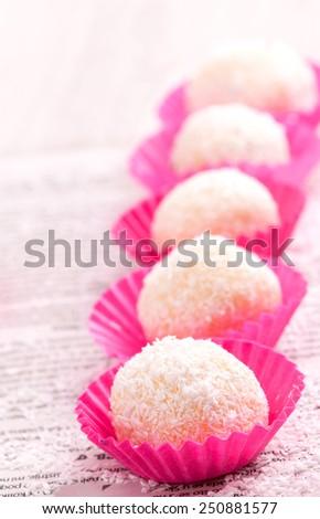 coconut cake balls - stock photo