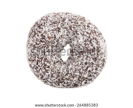 coconut coated chocolate donut isolated on white background - stock photo