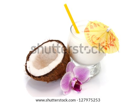 Coconut cocktail isolated on white backgound - stock photo