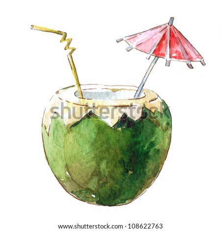Coconut Cocktail, watercolor illustration - stock photo