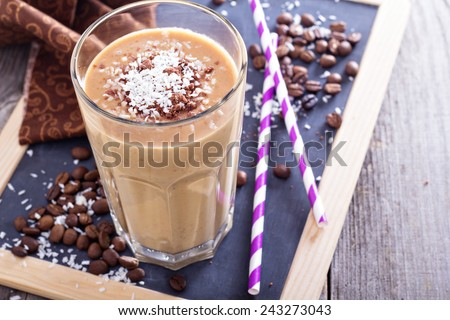 Coconut coffee chocolate smoothie on a chalk board - stock photo