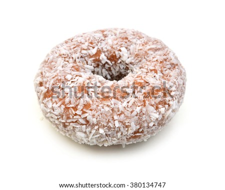 Coconut flaked plain donuts isolated on a white background. - stock photo