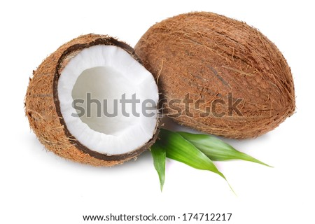 Coconut flakes with coconut in wooden bowl on the white background - stock photo