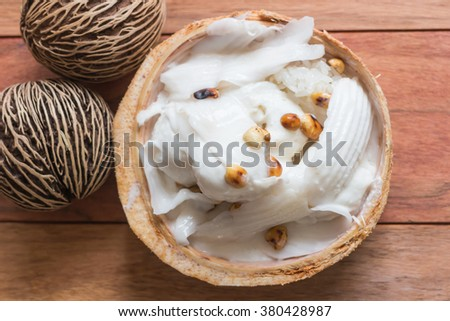 Coconut Ice Cream top view wood background / Food Stylist - stock photo