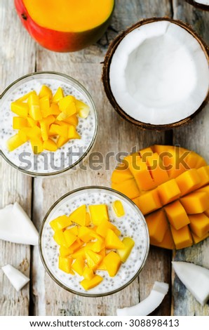 coconut mango Chia seed pudding. the toning. selective focus - stock photo