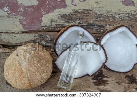 Coconut oil for alternative therapy,Spa set - stock photo