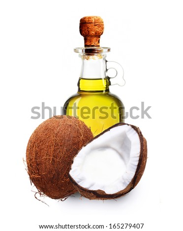 Coconut oil isolated on white background. - stock photo