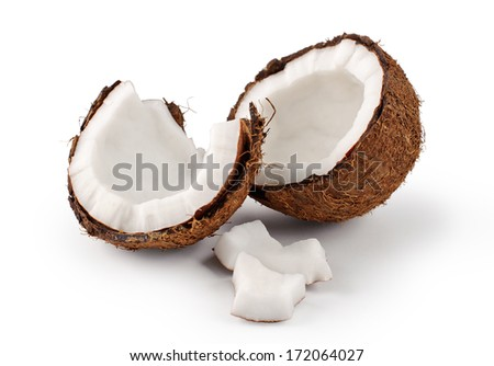 Coconut on a white background. Parts of coconut - stock photo
