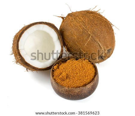 coconut palm sugar isolated on white - stock photo