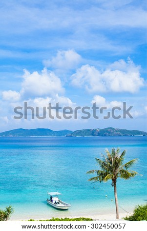 Coconut palm tree and boat on a tropical paradise beach of the Kerama Islands National Park, Okinawa, Japan - stock photo