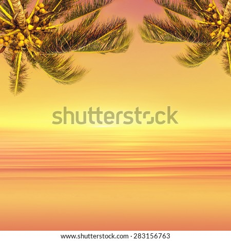 Coconut palm tree and sunset ocean landscape. Tropical paradise. - stock photo