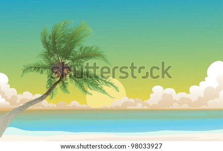 Coconut palm tree and the blue sea - stock photo