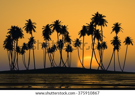 coconut palms at yellow tropical sunset over calm sea - stock photo